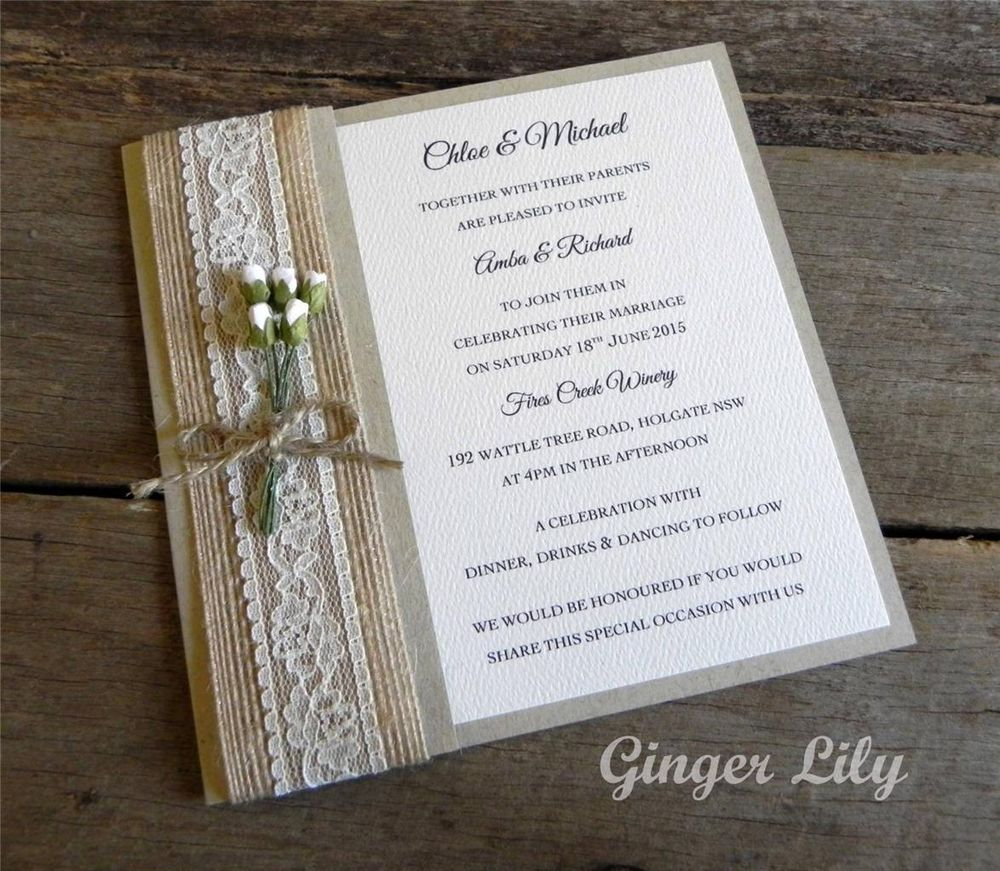 Vintage Style Rustic Rosebud DIY Wedding Invitation Kit ~ Makes 25 ...