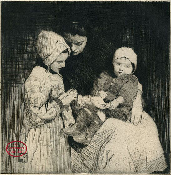 """The Knitting Lesson"" (drypoint) by William Lee-Hankey, 1913-1914"