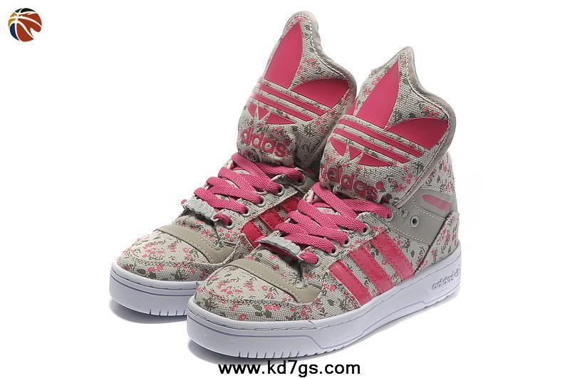 low cost 6c928 dc072 New Girl Adidas X Jeremy Scott Big Tongue Shoes Grey Pink