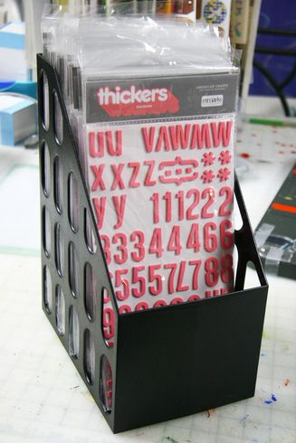 Efficient upright thickers storage - an extra wide magazine holder.