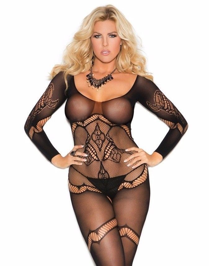 e3b2b2cb94  Bodystocking Lingerie Women Plus Black Crochet Long Sleeve Floral Bodysuit  Sexy  ElegantMoments  BodystockingBodysuitRomper