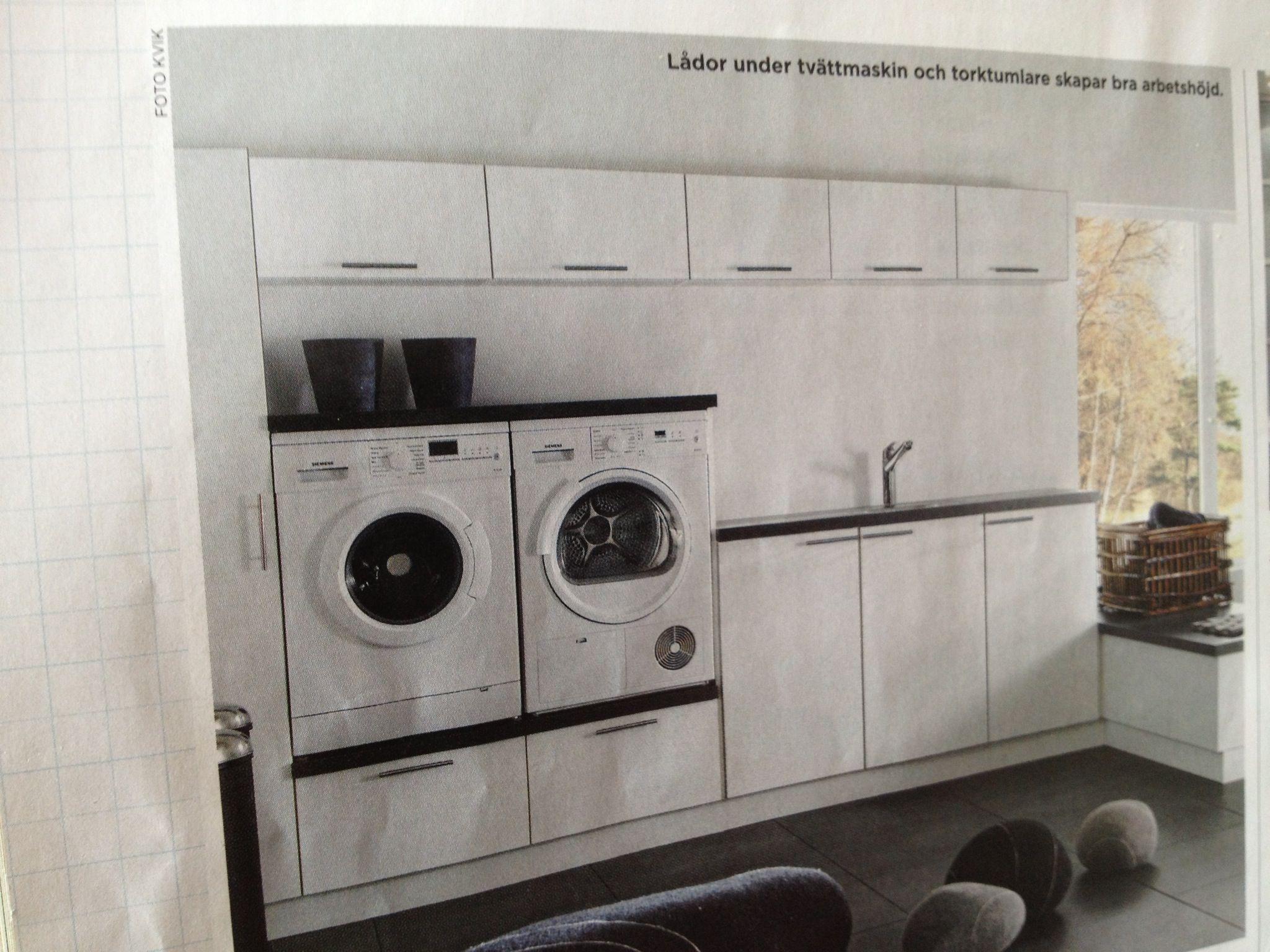 Prima Tvättmaskin i rätt höjd, smart. Överskåp för förvaring.   Sweden WK-26