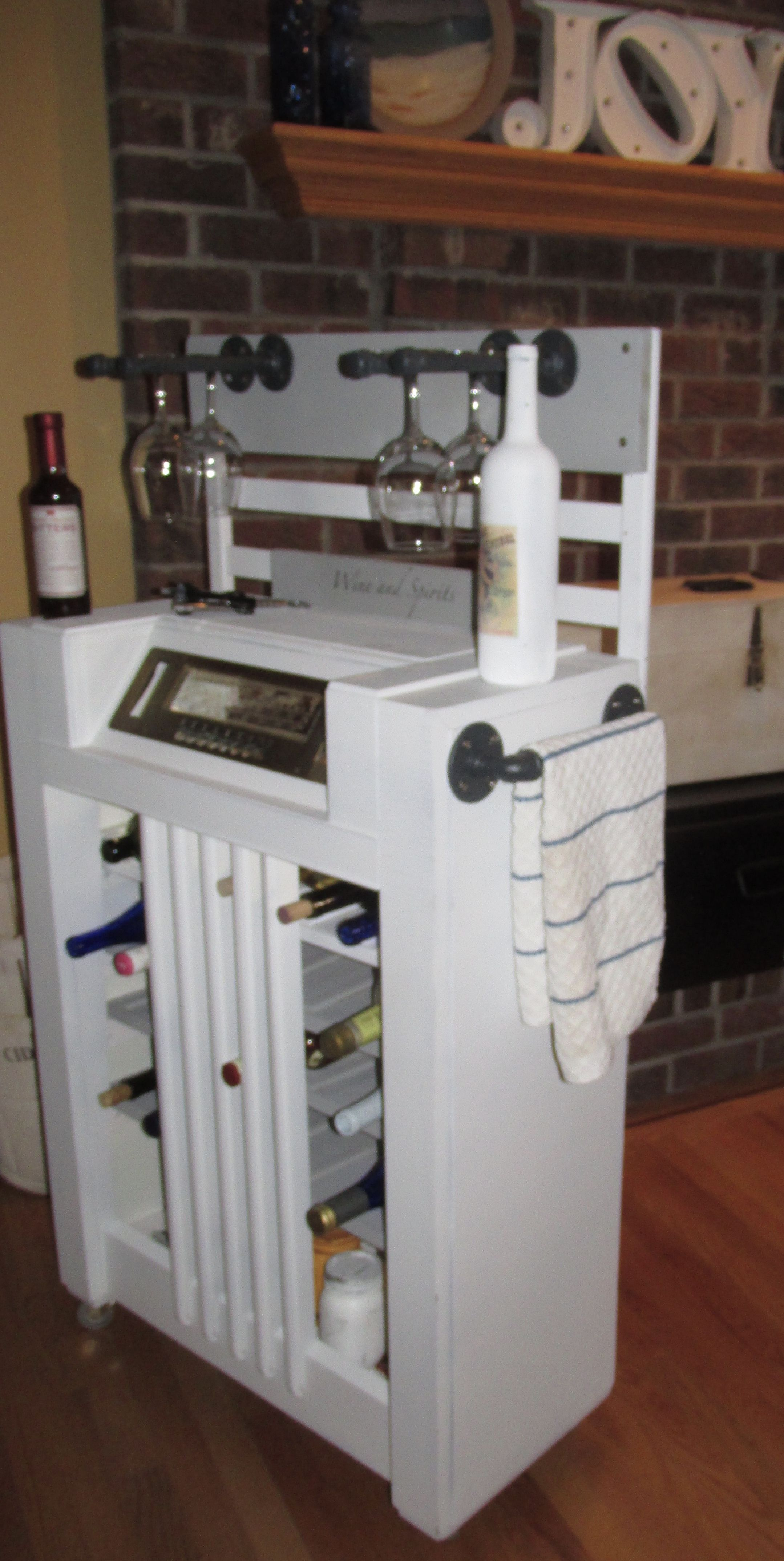 Up Cycled Antique Radio Cabinet To Rolling Industrial Wine Bar