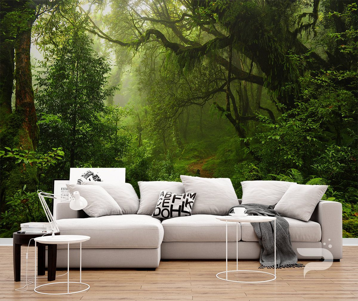 Enchanted Forest WALL MURAL, Green Forest Wallpaper, Large