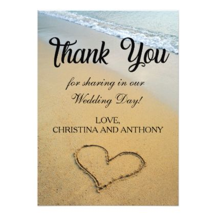#Heart on the Shore Beach Wedding Thank You Note Card - #beach #wedding #invitations #weddinginvitations #card #cards #celebration #beautiful #summer #summerwedding #savethedate #island #heat #love