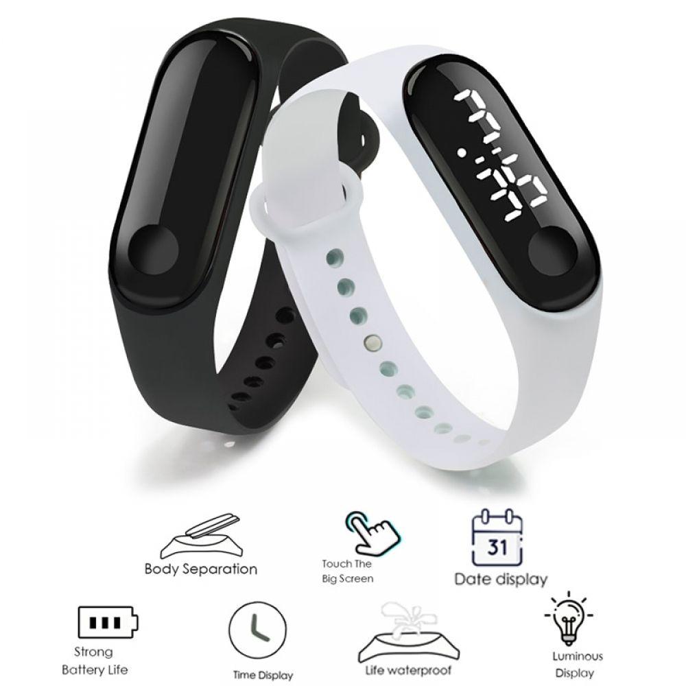 Men LED Digital Watch Luxury White Light Touch Screen