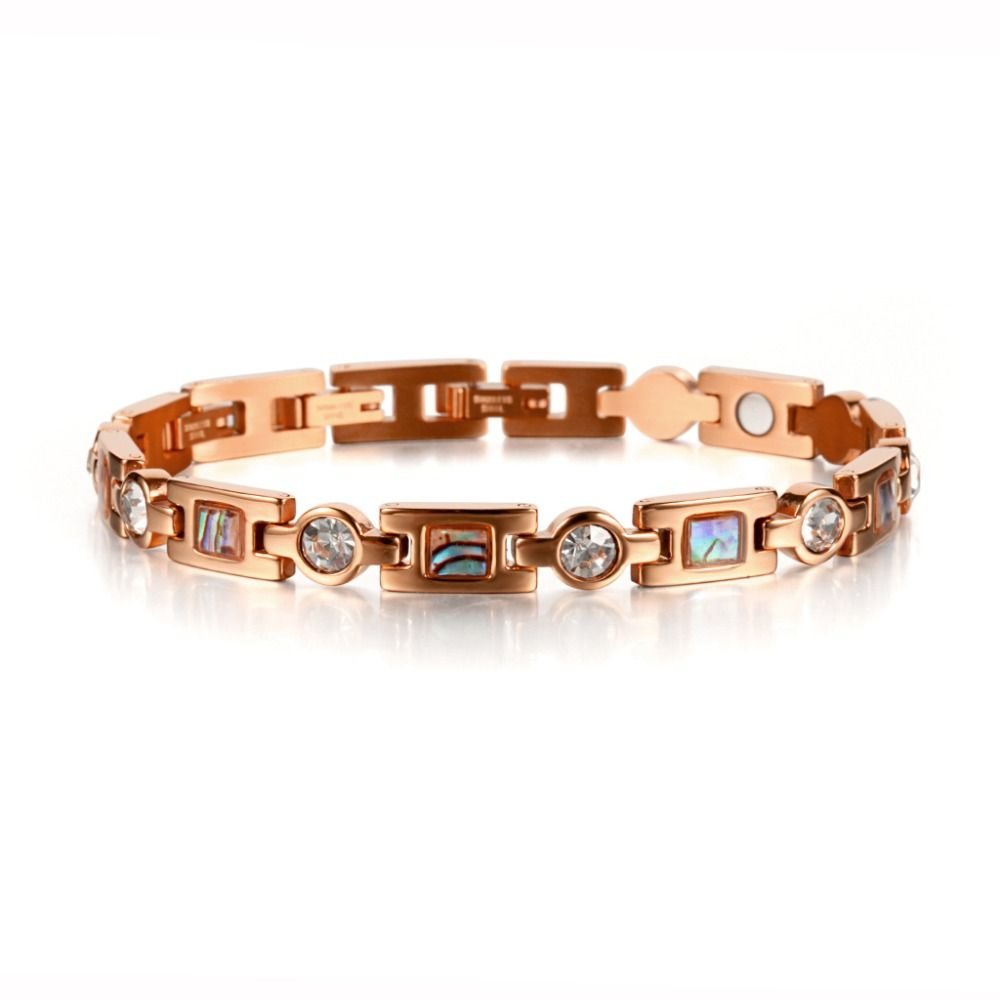 Stainless steel magnet bracelet women rose gold chain pain relief