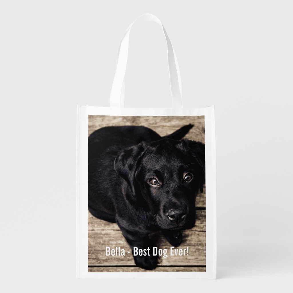 Personalized Black Lab Dog Photo And Dog Name Reusable Grocery Bag Personalized Black Lab Dog Photo and Dog Name Reusable Grocery Bag Black Things black color dog names