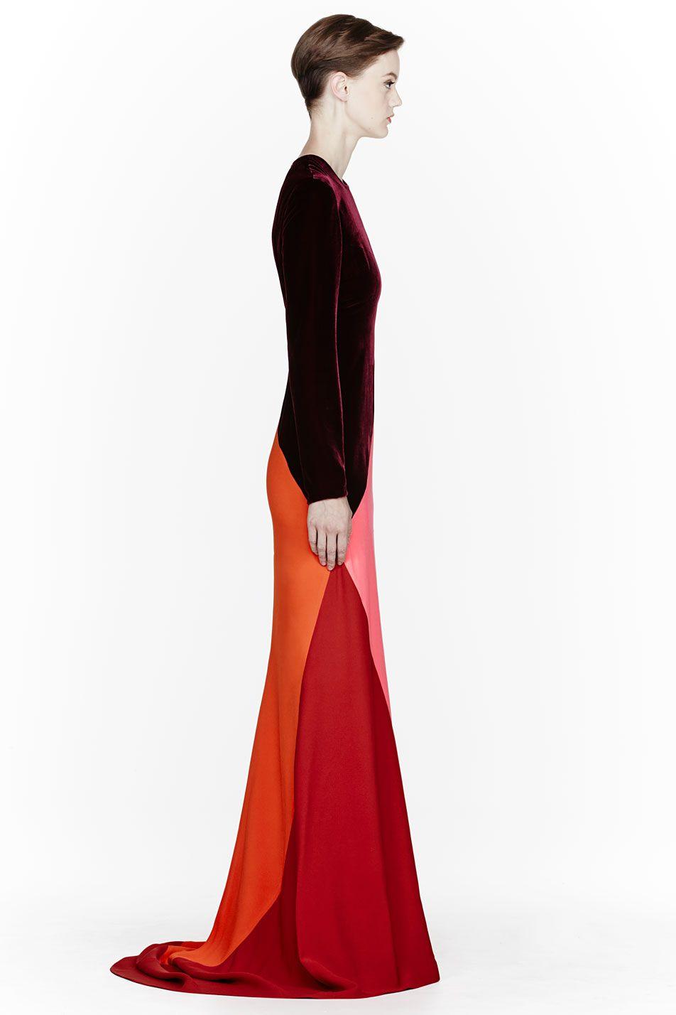 Stella mccartney colorblocked silk velvet gown dress me up