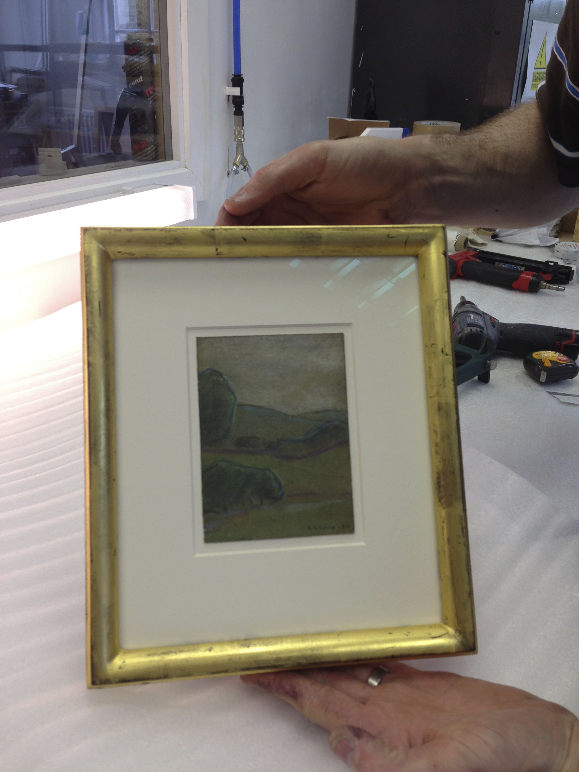 22ct gilt frame with museum glass for a beautiful L.S. Lowry ...
