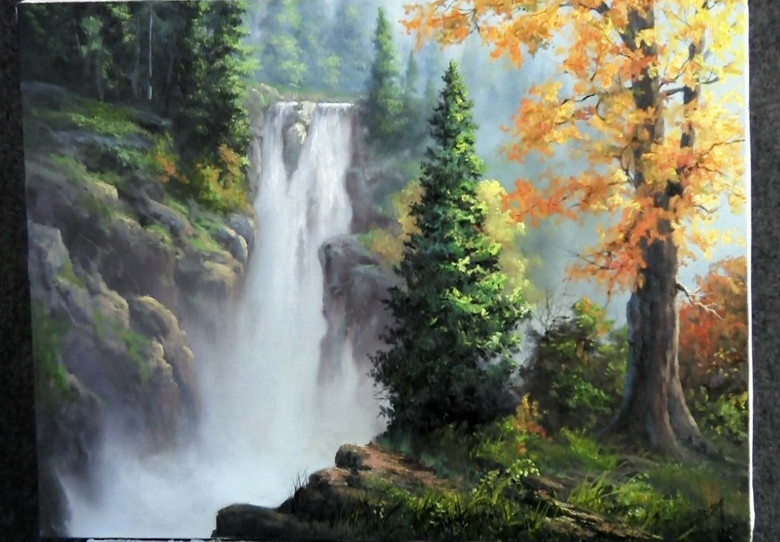 Paint With Kevin Hill Rushing Waterfall Landscape Painting Lesson Landscape Paintings Kevin Hill Paintings