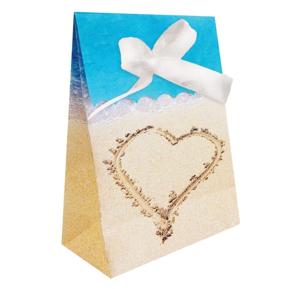 Beach Love Plastic Favor Bags Diecut with Ribbon/Case of 72 | Favor ...
