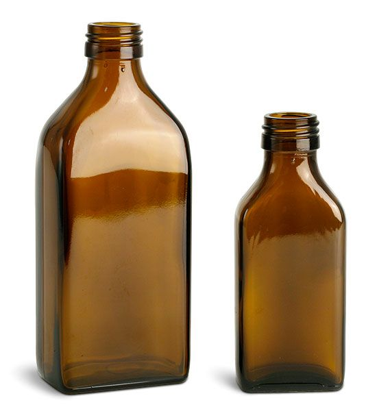 Amber Glass Oblong Flasks