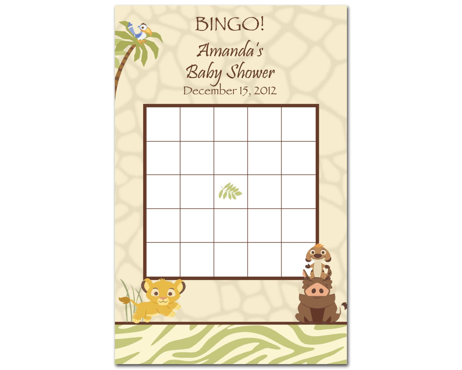 Printable Lion King Baby Shower Bingo Game