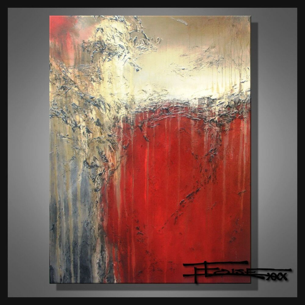 Signed US ELOISExxx ABSTRACT PAINTING MODERN canvas WALL ART Framed