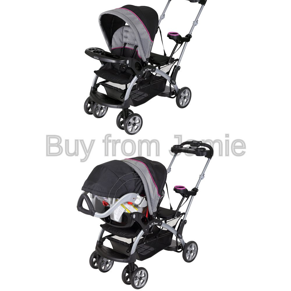 Baby Trend Sit N Stand Ultra Double Stroller Millennium Raspberry Infant Buggy