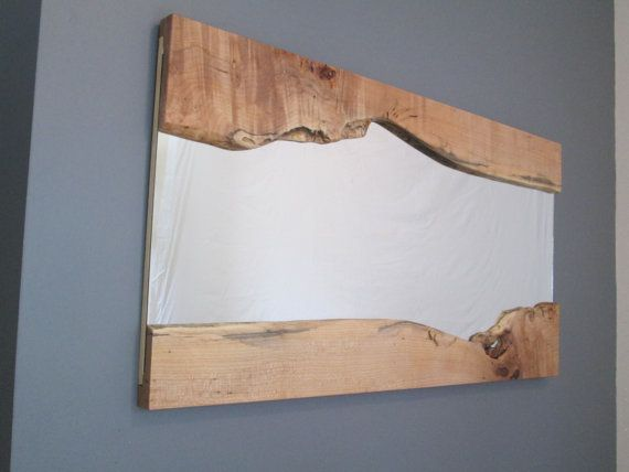 Live Edge Mirror - Maple wood - Wood Framed - Artistic Mirror in ...