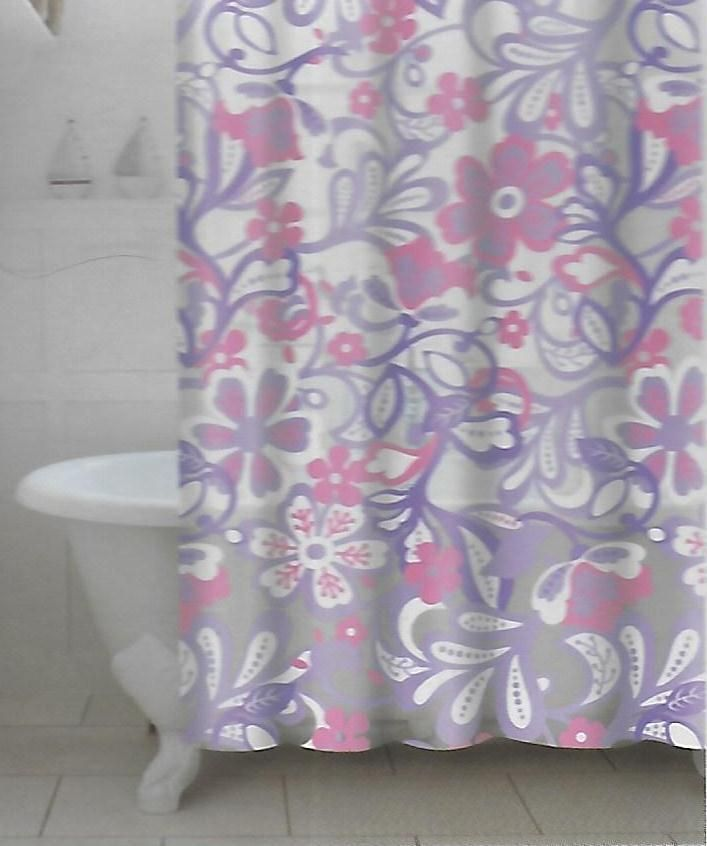 Details About Peva Frotti Floral Shower Curtain Purple Pink Flowers Eco  Friendly Product 70x72
