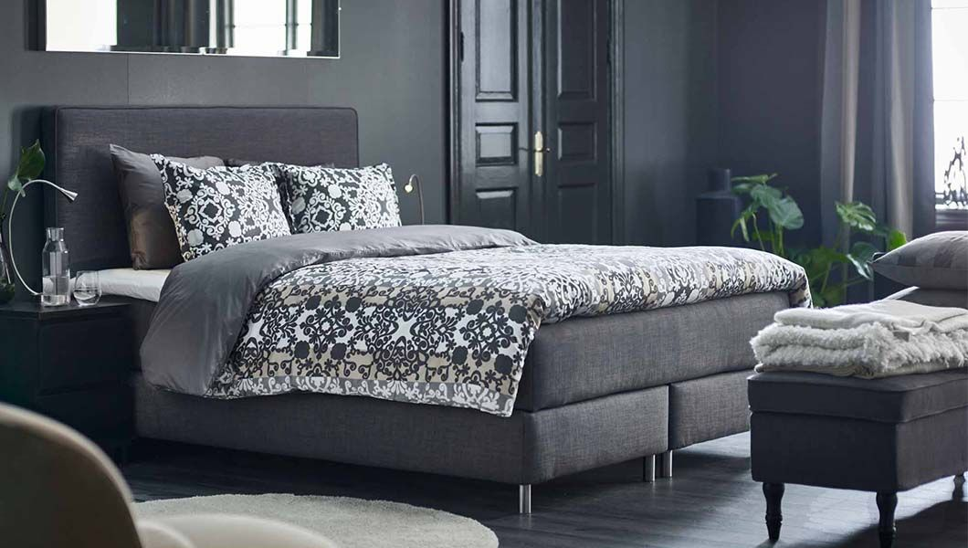 dunvik boxspringbett in hellgrau bei ikea ikea schlafzimmer tr ume pinterest bedrooms. Black Bedroom Furniture Sets. Home Design Ideas
