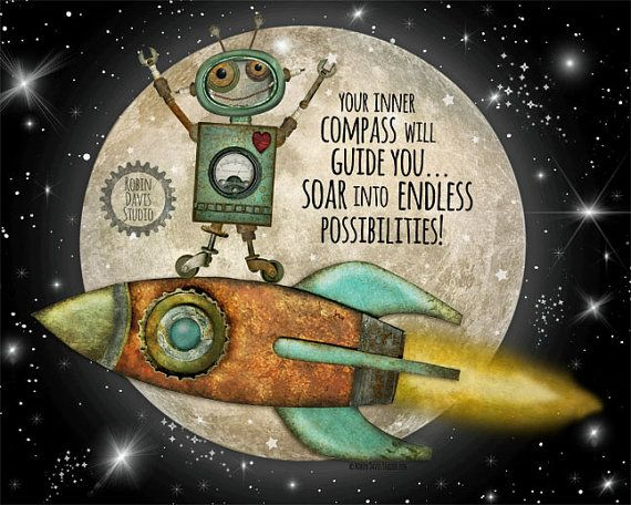 Astronaut robot outer space print 8 x10 inspiration for Outer space studios