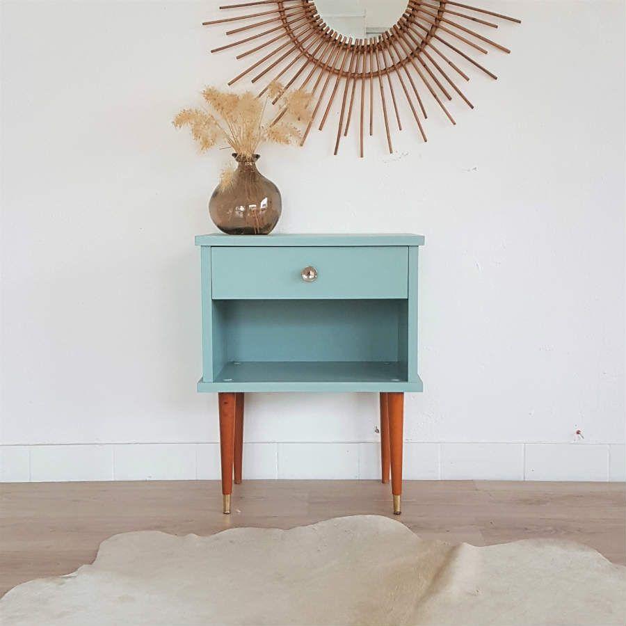 table de chevet ann es 60 vintage r nov en bleu glacier. Black Bedroom Furniture Sets. Home Design Ideas