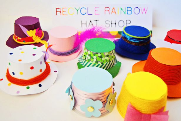 So smitten with these! RECYCLED RAINBOW YOGURT HAT SHOP FOR PRETEND PLAY  #crafts