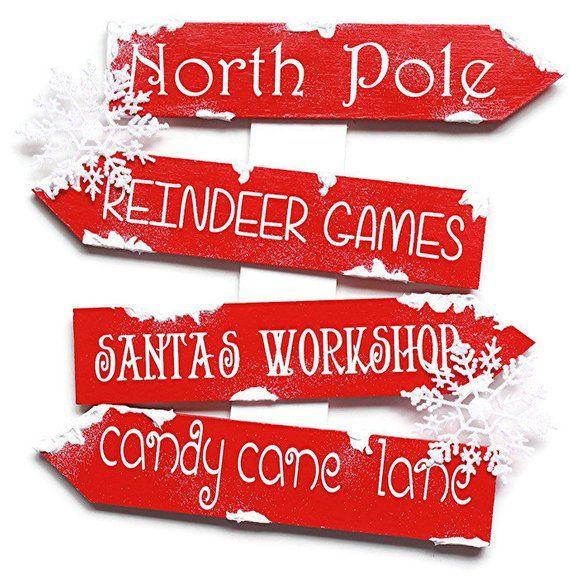 Christmas Directional Sign - Wood Sign - Christmas Decor - North