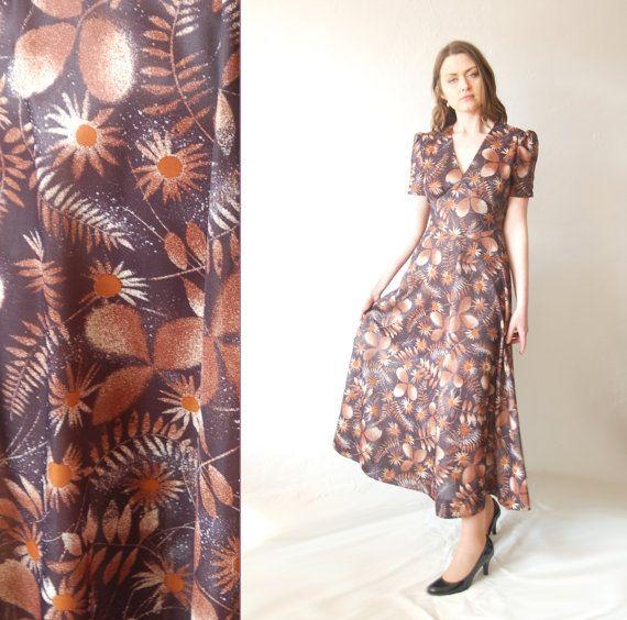 Vintage Brown Tea Length Dresses