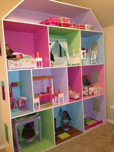 Emma's American Girl house !  Love that there is a place for all her things now!