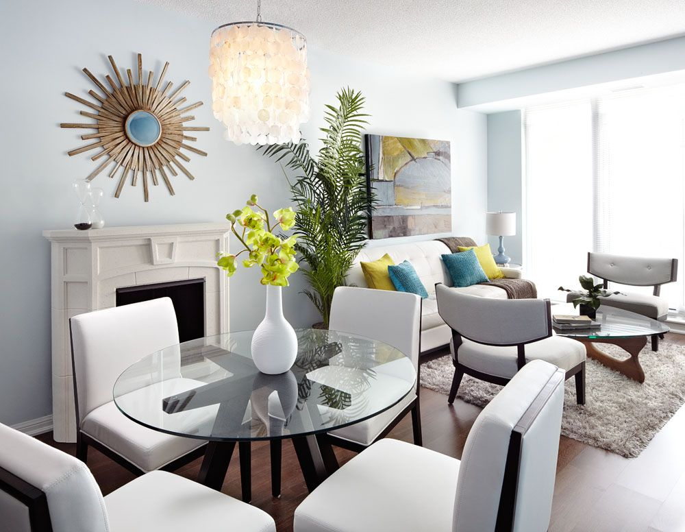 modern open concept condo dining and living room Living Dining Combo Small Space id=81595
