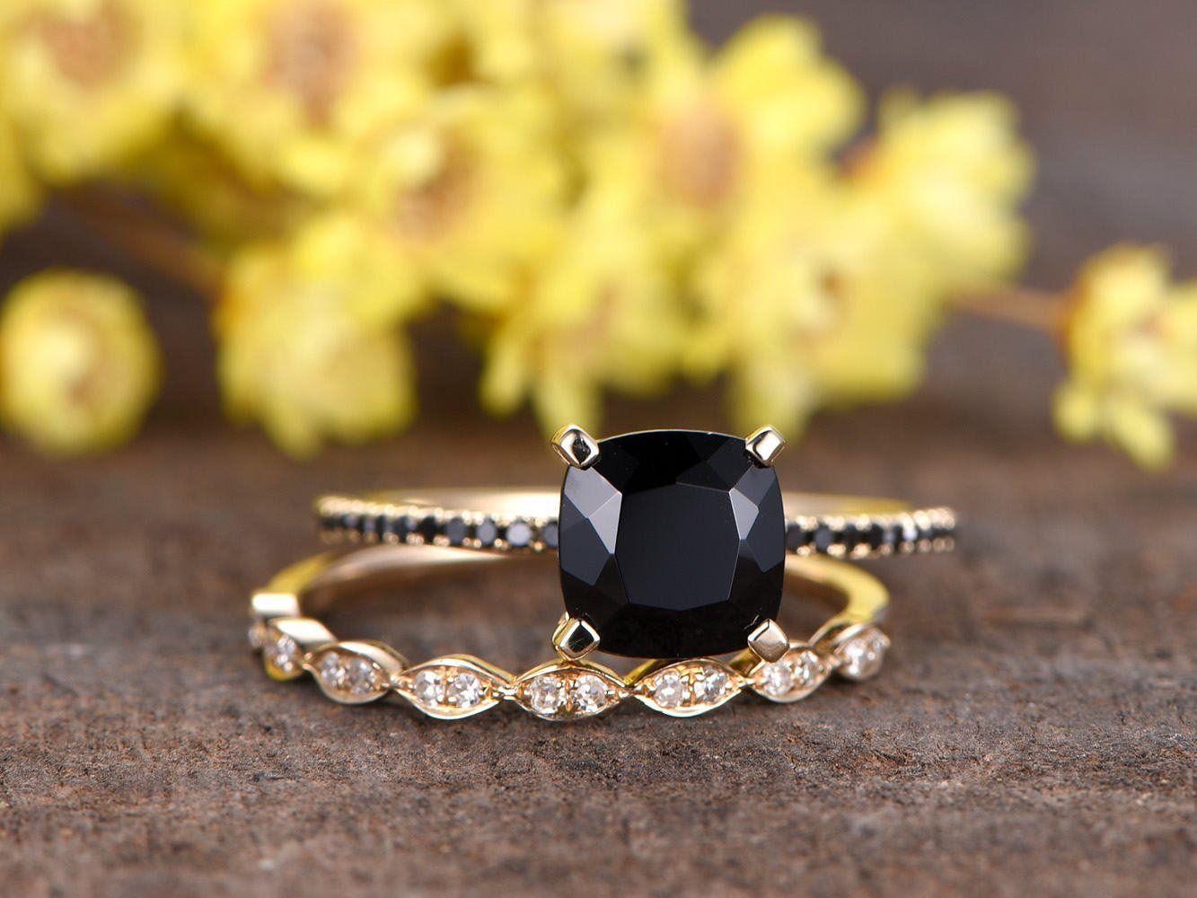 7mm Cushion Black Spinel Engagement Ringblack Diamond Wedding Etsy Black Diamond Ring Engagement Black Diamond Wedding Bands Black Engagement Ring