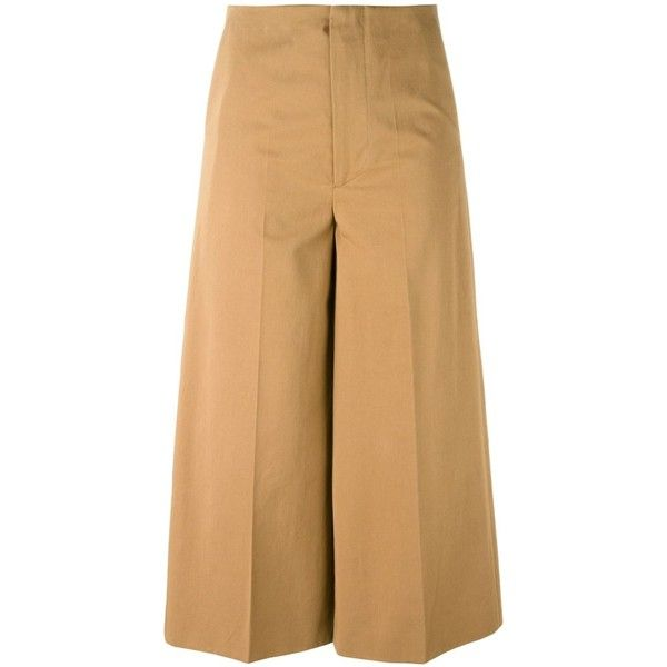 Marni Wide Culottes (925 CAD) ❤ liked on Polyvore featuring pants, capris, brown, brown pants, marni, straight pants, cropped capri pants and brown crop pants