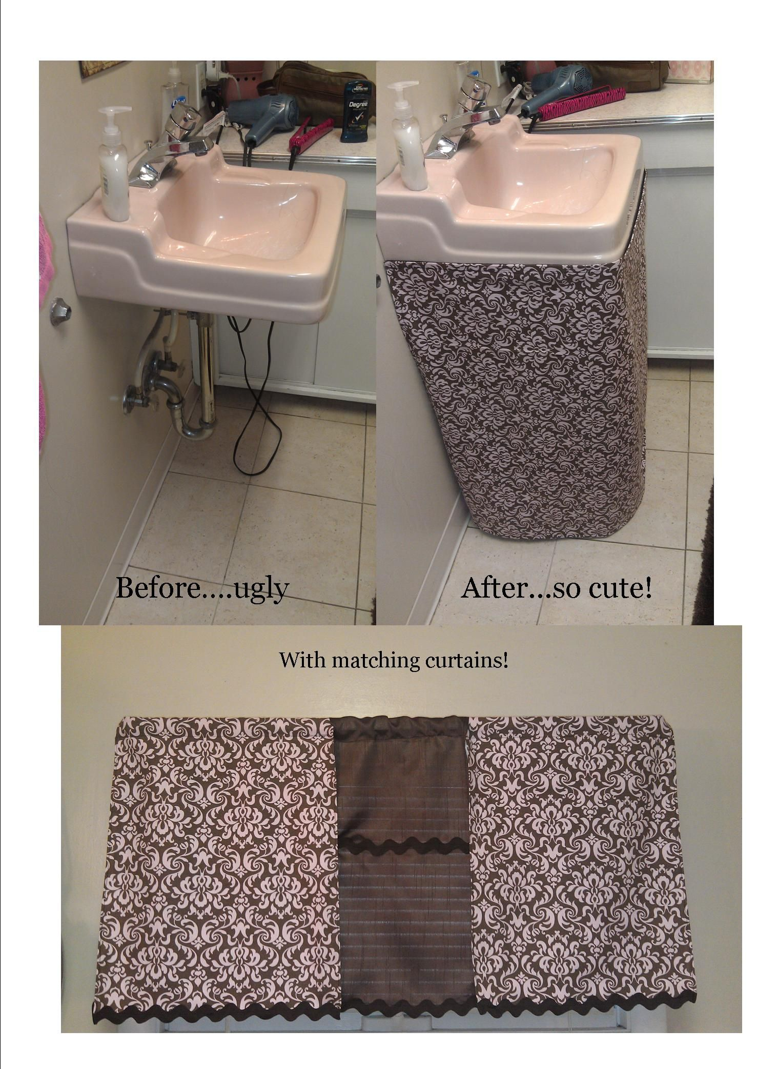 Pink And Brown Bathroom (ways To Make Bathroom Sink Look Cute/ Small  Bathroom Fix