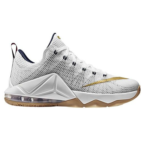 more photos 2a8c4 9d2f0 Nike LeBron 12 Low - Men s James, Lebron   White Midnight Navy University  Red Metallic Gold   Width - D - Medium