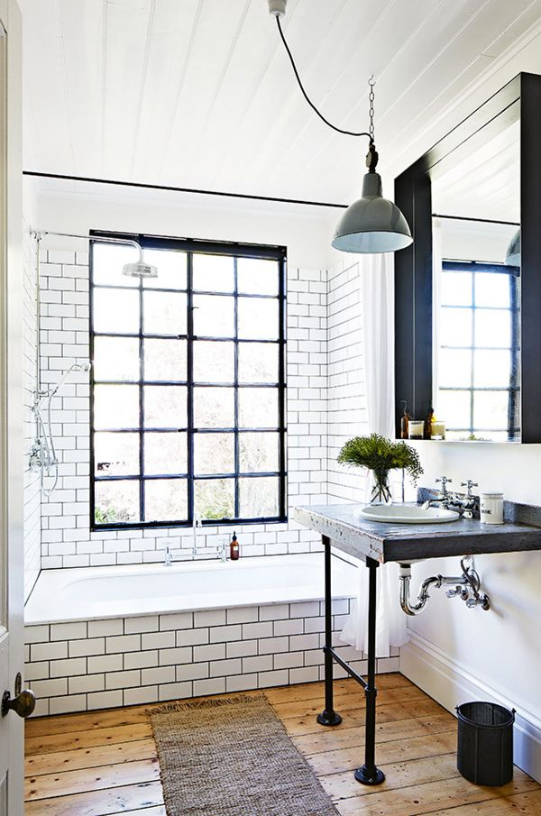 Traditional Master Bathroom With A Vintage Feel. Window Pane Steel Glass In  This Shower And Tub Combo. White Subway Tile With Dark Grout Looks Like A  ...