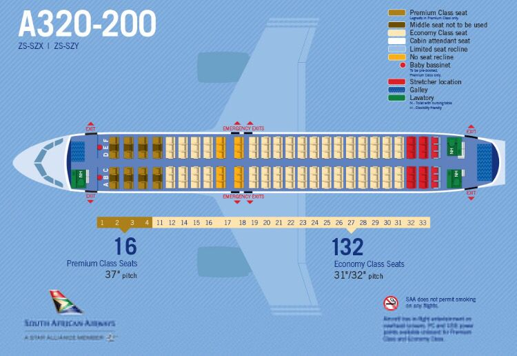 SAA Airbus A320 seat map v1