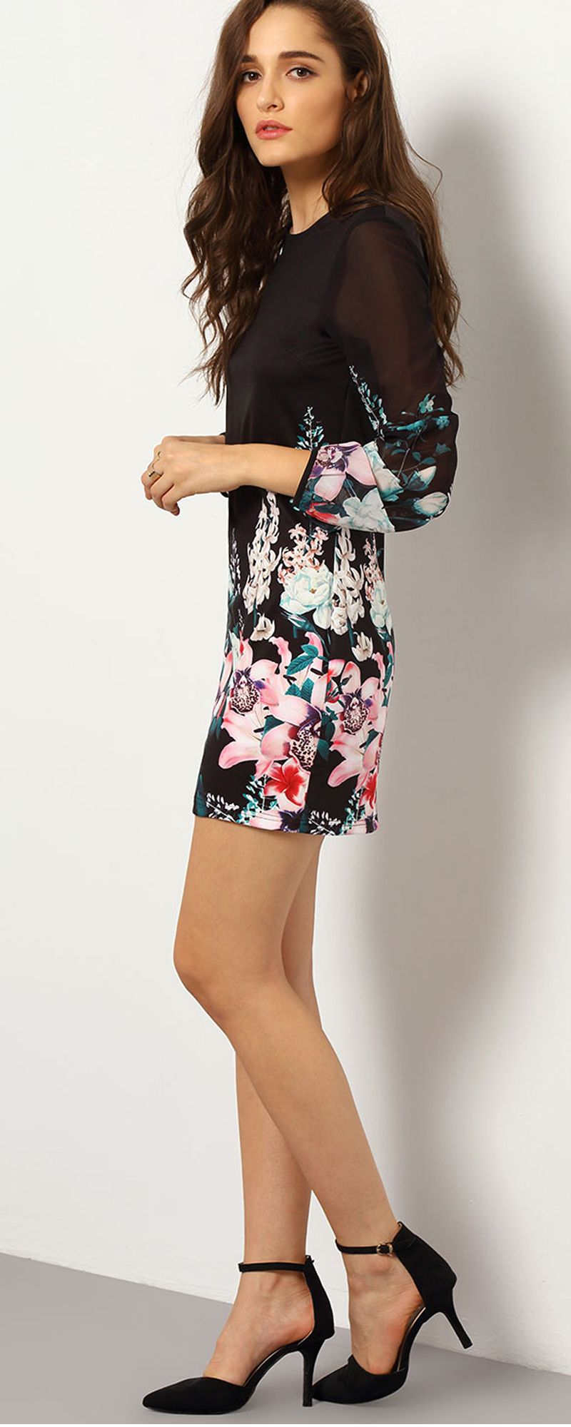Black Long Sleeve Floral Dress - cute for engagement photos, bridal shower, wedding rehearsal dinner or reception outfit!