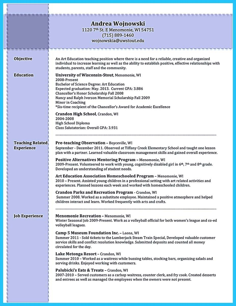 Nice Creative And Extraordinary Art Teacher Resume For Any Level