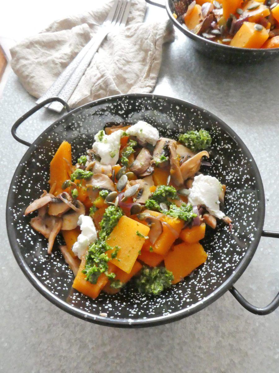 Poêlée de butternut et champignons accompagnée d'un pesto ...