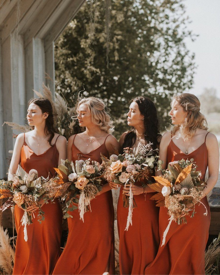 Burnt Orange Bridesmaids Wild Flower Bouquet Dried Flowers Burnt Orange Bridesmaid Dresses Rust Bridesmaid Dress Orange Bridesmaid Dresses [ 1126 x 901 Pixel ]