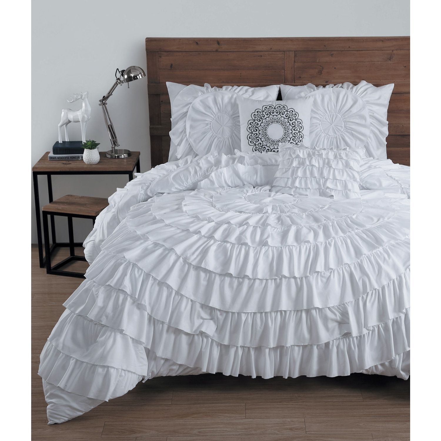 Avondale Manor Sa Ruffled 5 piece King Size forter Set in