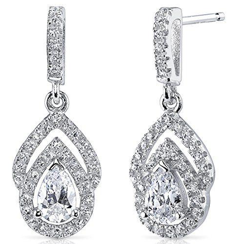 revoni boucles d 39 oreilles pendantes femme argent 925 1000 diamant de culture revoni http. Black Bedroom Furniture Sets. Home Design Ideas