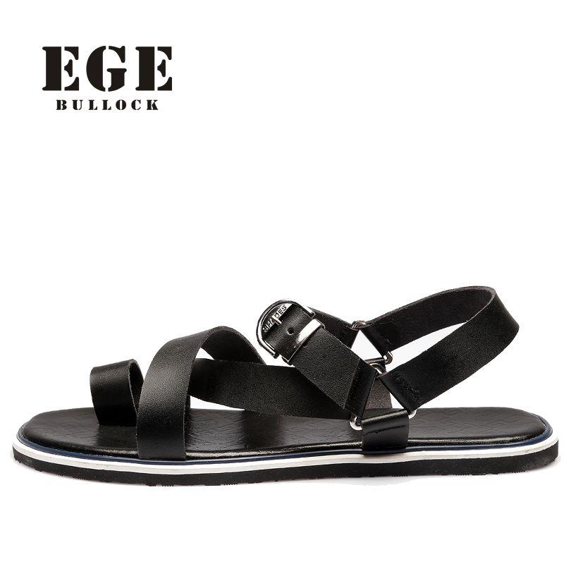 56636ea40 EGE BRAND Men Sandals New Fashion British High Quality Genuine Leather Male  Beach Shoes Leisure No-Slip Sole Sandals for Men  Affiliate