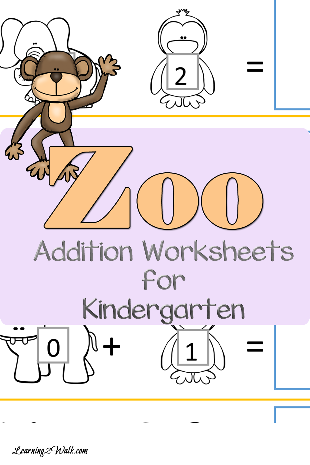 FREE Zoo Addition Kindergarten Worksheets | Pinterest | Addition ...