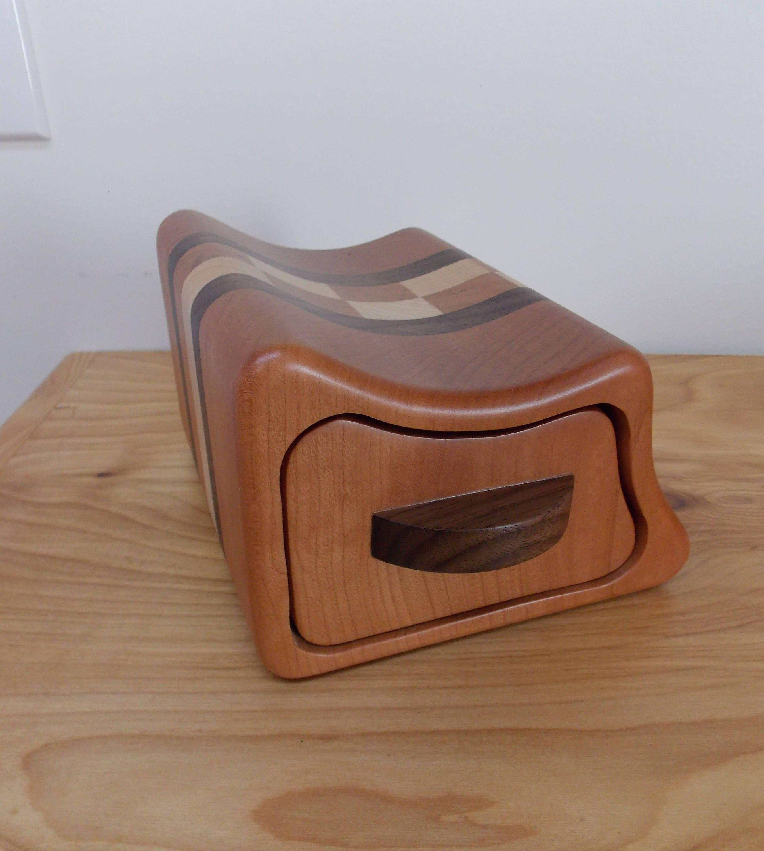 Small Cherry Wood Jewelry Box Bandsaw Jewelry Box Keepsake Box