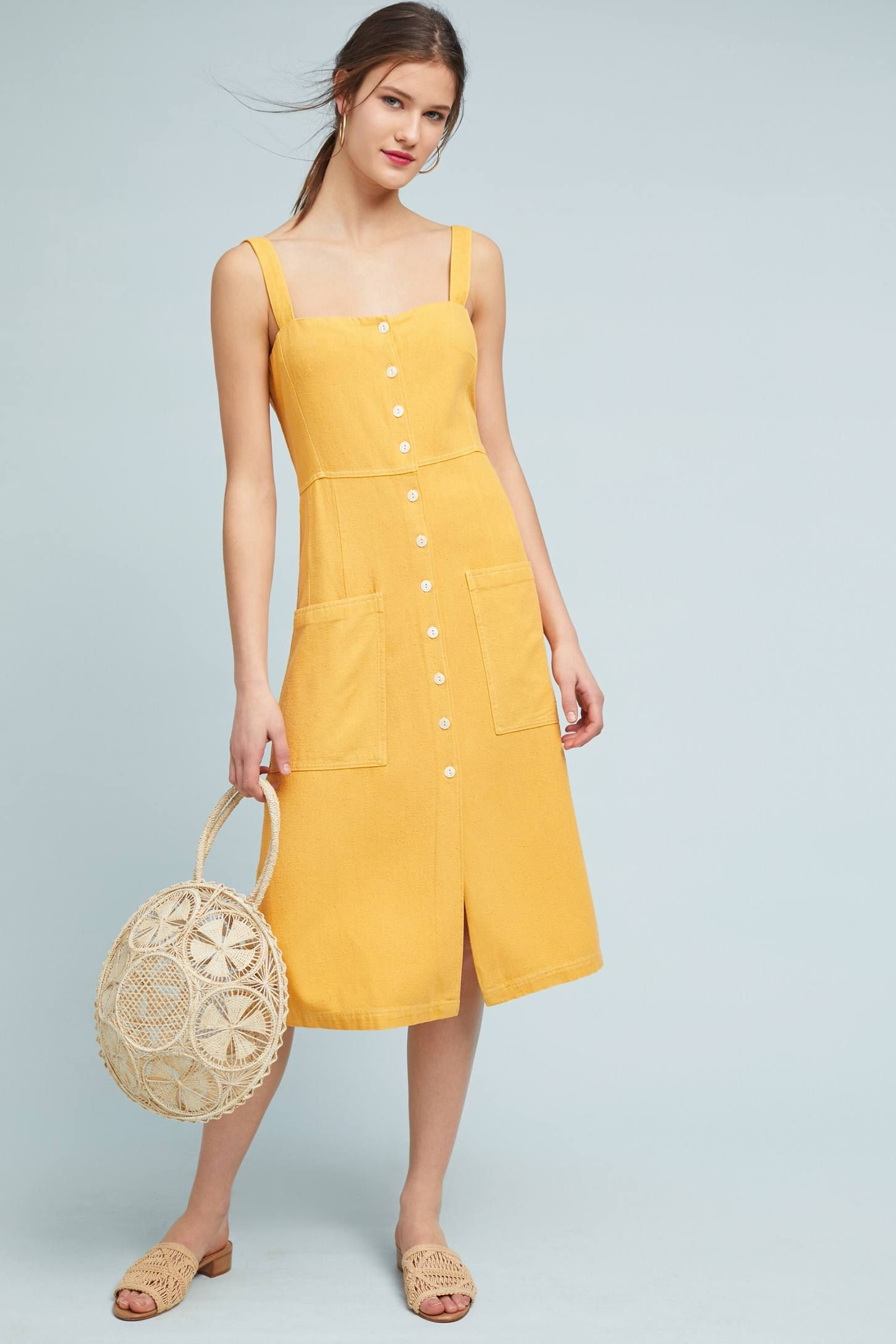 Levi S Silk Sundress Clothes Flowy Dress Casual Yellow Fashion