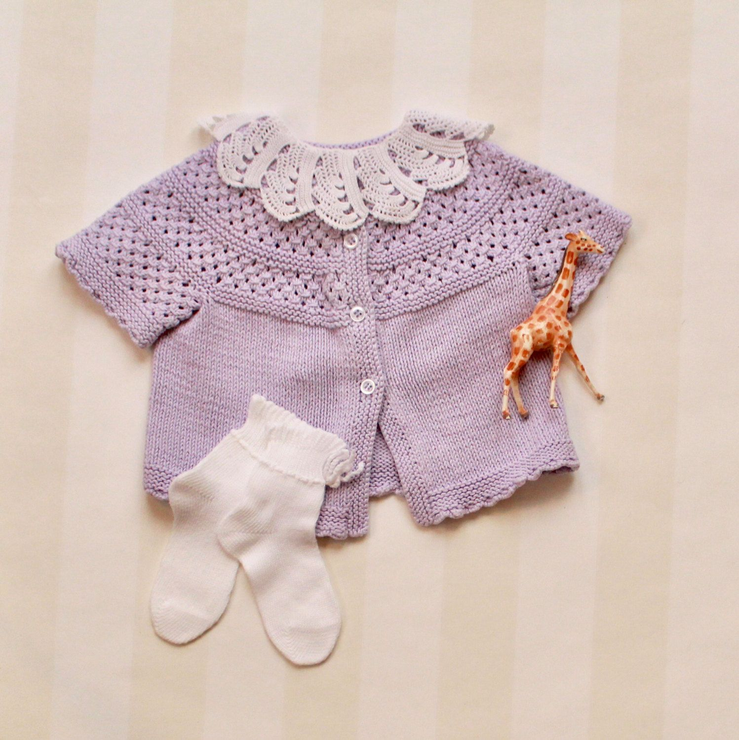 Baby Girl Cardigan in Lavender Cotton Knit 0 3 months Scandinavian