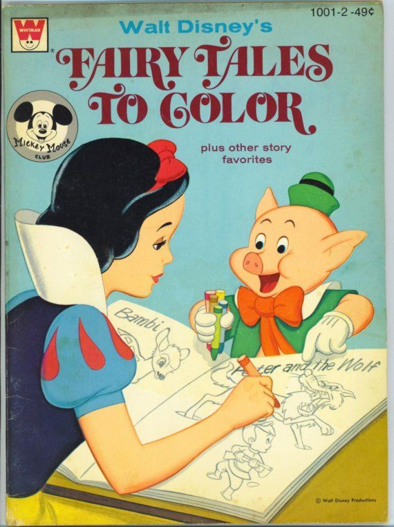 Vintage Disney Coloring Book With Snow White For Scrapbooking