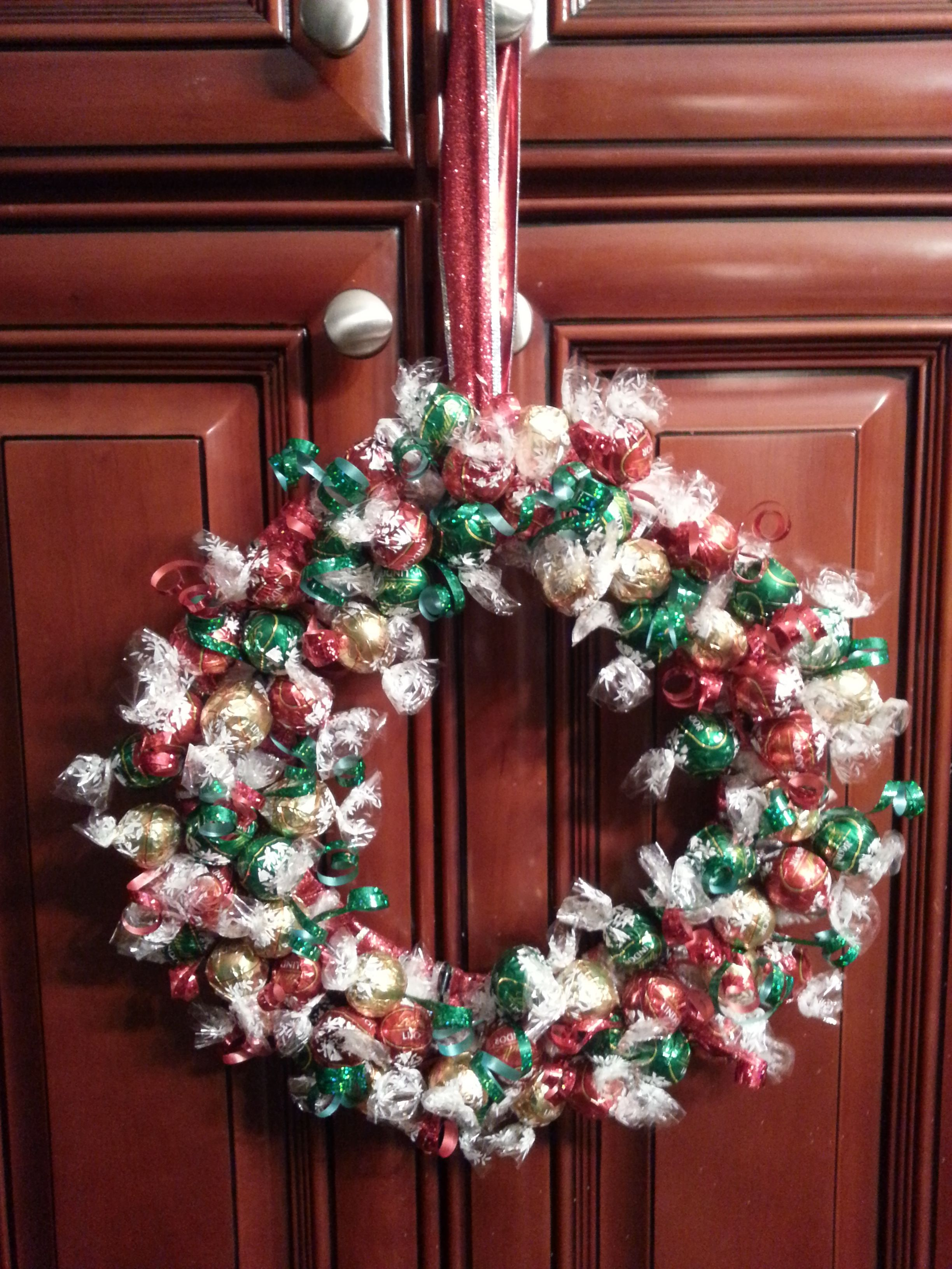 Got this idea after seeing one using mints. Christmas Wreaths from using  Lindt chocolate balls
