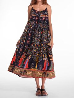 6aff35402852 Bohemian Women Sleeveless O Neck Peacock Printed Maxi Dresses Online -  NewChic Mobile